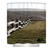 Old Fence And Landscape Along Sir Francis Drake Boulevard At Point Reyes California . 7D9897 Shower Curtain by Wingsdomain Art and Photography