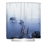 Old Fishing Platform At Dusk Shower Curtain by Axiom Photographic