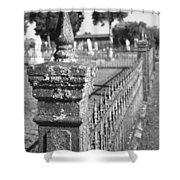 Old Graveyard Fence in Black and White Shower Curtain by Kathy Clark