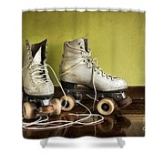 Old Roller-skates Shower Curtain by Carlos Caetano