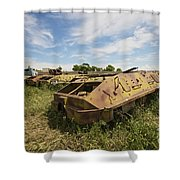 Old Russian Btr-60 Armored Personnel Shower Curtain by Terry Moore
