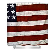 Old Usa Flag Shower Curtain by Carlos Caetano