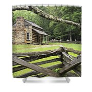 Oliver Cabin In Cade's Cove Shower Curtain by Randall Nyhof