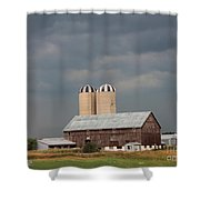 Ominous Clouds Over The Barn Shower Curtain by J McCombie