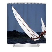 ON THE BOARDS Shower Curtain by Skip Willits