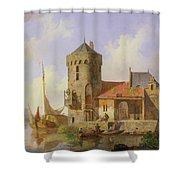 On The Rhine Shower Curtain by Cornelius Springer