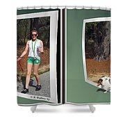 On The Trail - Gently Cross Your Eyes And Focus On The Middle Image That Appears Shower Curtain by Brian Wallace