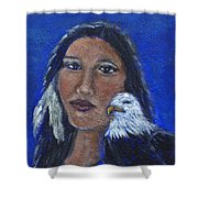 Onawa Native American Woman Of Wisdom Shower Curtain by The Art With A Heart By Charlotte Phillips