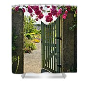Open Garden Gate With Roses Shower Curtain by Elena Elisseeva