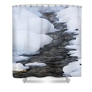 Open Running Creek With Snow Covered Shower Curtain by Michael Interisano
