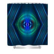Optical Blue Shower Curtain by Carolyn Marshall