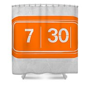 Orange Alarm Shower Curtain by Naxart Studio