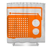 Orange Transistor Radio Shower Curtain by Naxart Studio