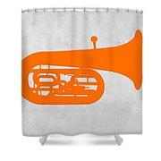 Orange Tuba Shower Curtain by Naxart Studio