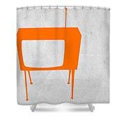 Orange Tv Shower Curtain by Naxart Studio