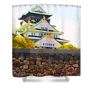 Osaka Castle - Painterly - 40d17138 Shower Curtain by Wingsdomain Art and Photography