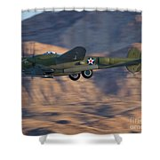 P-38 Gear Up Shower Curtain by Tim Mulina