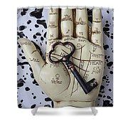 Palm Reading Hand And Key Shower Curtain by Garry Gay