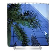 Palm Tree And Reflection Of Petronas Shower Curtain by Axiom Photographic