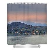 Panorama Lake Maggiore Shower Curtain by Joana Kruse