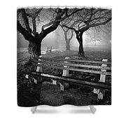 Park Benches Shower Curtain by Gary Heller