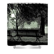 Park Benches In Autumn Shower Curtain by Joana Kruse