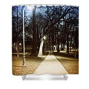 Park Path At Night Shower Curtain by Elena Elisseeva