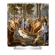 Parnassus, Apollo And The Muses, 1635 Shower Curtain by Photo Researchers