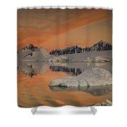 Peaks At Sunset Wiencke Island Shower Curtain by Colin Monteath