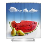 Pears And Melon Shower Curtain by Carlos Caetano