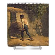 Peasant With A Wheelbarrow Shower Curtain by Jean-Francois Millet