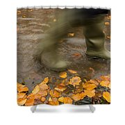 Person In Motion Walks Through Puddle Shower Curtain by John Short