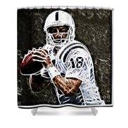 Peyton Manning 18 Shower Curtain by Paul Ward