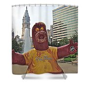 Phanatic Love Statue In The City Shower Curtain by Alice Gipson