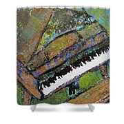 Piano Aqua Wall - Cropped Shower Curtain by Anita Burgermeister