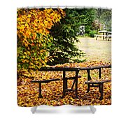 Picnic Table With Autumn Leaves Shower Curtain by Elena Elisseeva