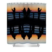 Pier Fishing At Dawn Shower Curtain by Betsy C  Knapp