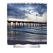 Pier in the Evening Shower Curtain by Sandy Keeton