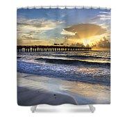 Pier Lights Shower Curtain by Debra and Dave Vanderlaan