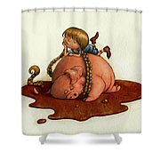 Pig Tales Shower Curtain by Andy Catling