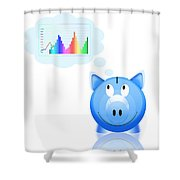 Piggy Bank With Graph Shower Curtain by Setsiri Silapasuwanchai