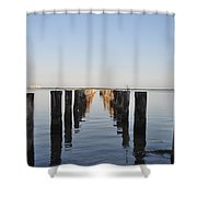 Pilings From An Old Pier Shower Curtain by Bill Cannon