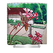 Pink Geranium Sketchbook Project Down My Street Shower Curtain by Irina Sztukowski