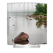 Pink Granite In Jordan Pond at Acadia Shower Curtain by Steve Gadomski