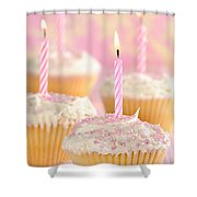 Pink Party Cupcakes Shower Curtain by Amanda And Christopher Elwell