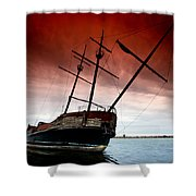 Pirate Ship 2 Shower Curtain by Cale Best