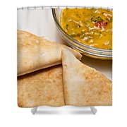 Pita Bread With Brocoli Cheese Dip Shower Curtain by Andee Design