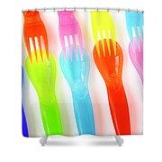 Plastic Cutlery Shower Curtain by Carlos Caetano
