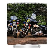 Police Motorcycles Shower Curtain by Paul Ward