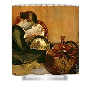 Polishing Pans  Shower Curtain by Marianne Stokes